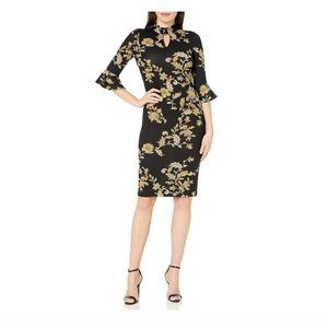 Gabby Skye Black Floral Mid Sleeve Midi Dress